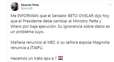 Petta plantea un 'trato apu'a' a Silvio Ovelar