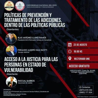 Realizarán seminario sobre adicciones en política y el acceso a la Justicia