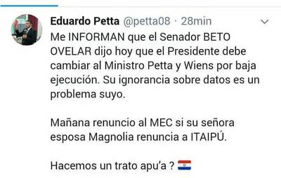 """Si la esposa del senador renuncia a sueldo de G. 100 millones, """"Mañana renuncio al MEC"""": abdista versus abdista"""