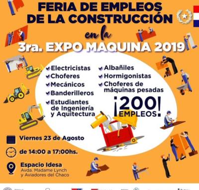Feria de empleo de la construcción ofrece más de 200 puestos