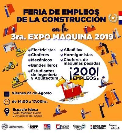 Feria de empleo en la Expo Máquina pretende cubrir 200 puestos laborales
