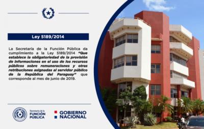 La SFP da cumplimiento a los artículos 3° y 6º de la Ley N° 5189 correspondiente al mes de junio de 2019