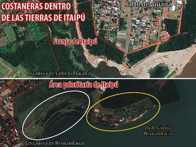 Costaneras de Hernandarias y  Salto del Guairá usan tierras de la Itaipú
