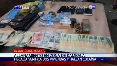 Incautan drogas, armas y dinero durante allanamientos en Kambala