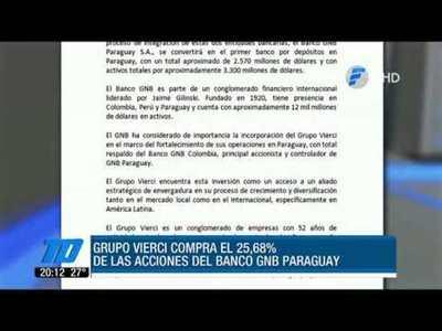 Grupo Vierci adquiere el 25% de las acciones del Banco GNB Paraguay
