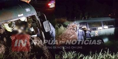 ÓMNIBUS DEL MINISTERIO DE DEFENSA VOLCÓ SOBRE LA RUTA 1