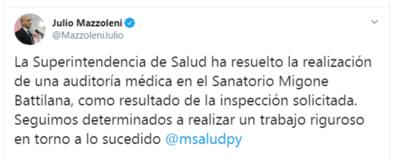 Auditarán sanatorio privado