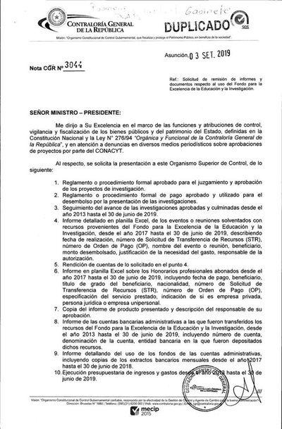 Contraloría pide informes al Conacyt sobre proyectos financiados