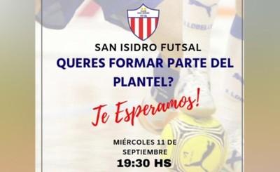 Convocan a pruebas para San Isidro Futsal