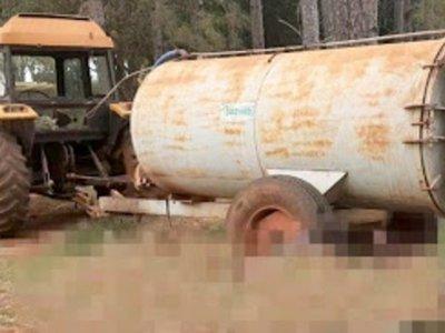 Murió aplastado contra un pino por su propio tractor