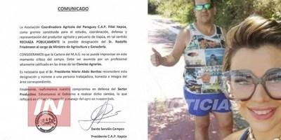 PRODUCTORES DE ITAPÚA RECHAZAN A FRIEDMANN COMO MINISTRO DE AGRICULTURA