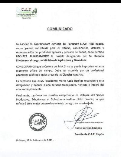 """Productores agrícolas del CAP, en """"pie de guerra"""" ante designación de Rodolfo Friedmann en Ministerio de Agricultura"""