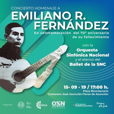 Recital en homenaje a Emiliano R. Fernández en la Costanera, este domingo