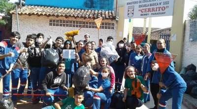 ¡200 jóvenes voluntarios fueron protagonistas de la jornada ambiental comunitaria en Ñemby!