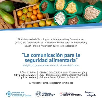 Mitic y FAO realizarán curso sobre seguridad alimentaria para comunicadores del Estado