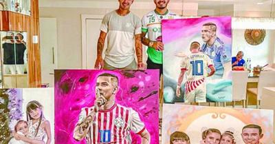 Artista que  pinta a figuras mundiales pintó imagen de Derlis