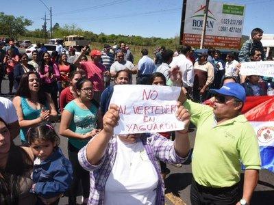Yaguaroninos rechazan vertedero y piden al Mades no otorgarle licencia