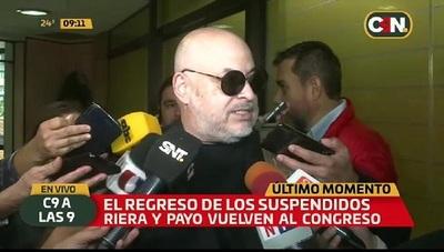 Payo Cubas vuelve al Senado y dice que le copian sus proyectos