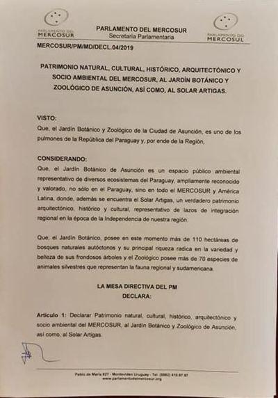 Parlamento del Mercosur declara patrimonio el Botánico y Solar Artigas