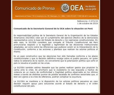 La Justicia peruana deberá decidir sobre la legalidad de la disolución del Parlamento, afirma la OEA
