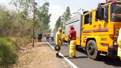 HOY / Incendio en el Parque Guasu: por ahora vuelos no son afectados