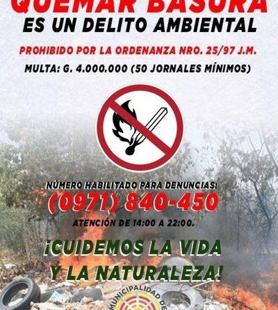 Habilitan número para denuncias por quema de basura y crean brigadas de intervención