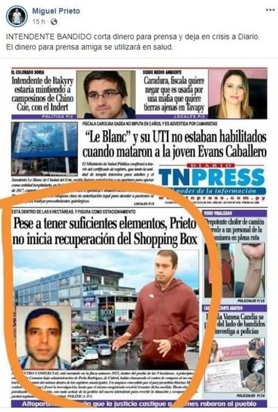"""""""Intendente bandido corta dinero para prensa y deja en crisis a Diario"""": Argumento de Prieto ante críticas a su gestión"""