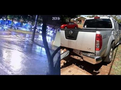 CAMIONETA ATROPELLÓ PASEO CENTRAL DE AVDA EN PLENO CENTRO DE HOHENAU Y HUYÓ