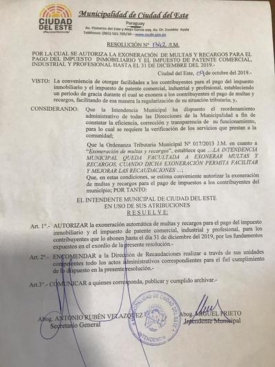Intendente de CDE dispone exoneración de multas en el pago de impuestos