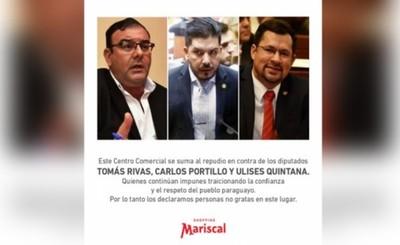 Declaran personas no gratas a Rivas, Portillo y Quintana