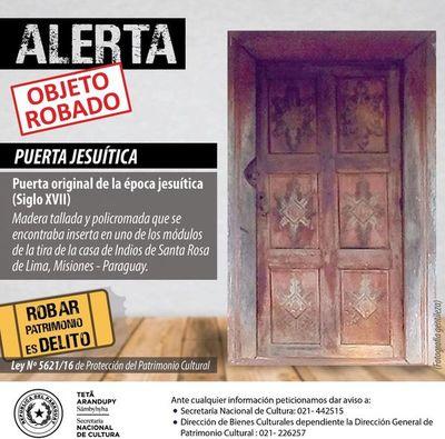 Emiten alerta internacional por el robo de una puerta de 300 años