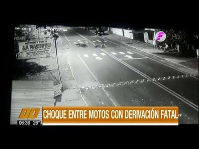 Choque entre motos con derivación fatal