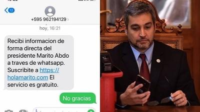 HOY / Hasta Mario Abdo envía spam a los celulares