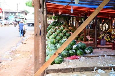 Frutas de estación en un sector de la plaza del merado