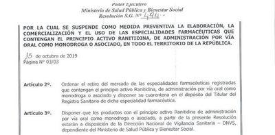 """Salud suspende elaboración y comercialización de """"ranitidina"""""""