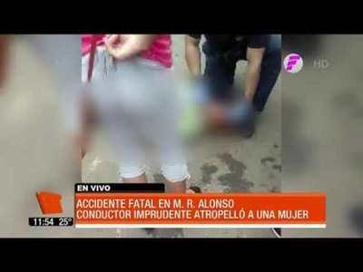 Conductor imprudente mató a una mujer