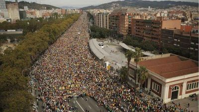 Disturbios tras manifestación en Cataluña