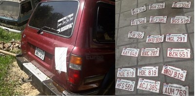 Incautan dos camionetas y numerosas chapas en su interior que serían robadas