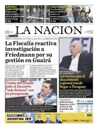 Edición impresa, 22 de octubre de 2019