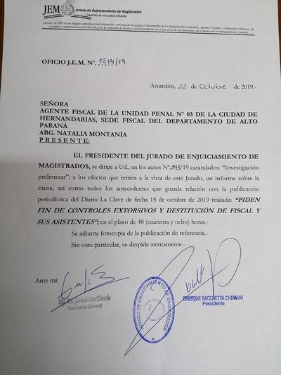 JEM pide informe a Natalia Montanía sobre supuestos controles extorsivos