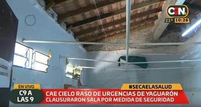 Cae cielo raso de hospital público en Yaguarón