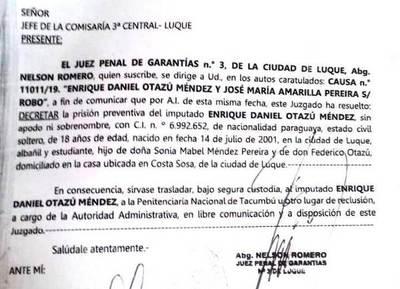 Juez manda a Tacumbú a motochorro detenido por asaltar a una niña •