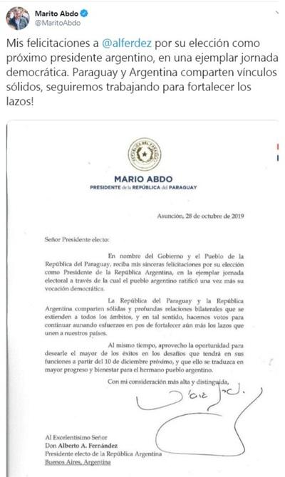 Senadora Samaniego no cree que vaya a haber fricción entre Abdo y nuevo mandatario argentino