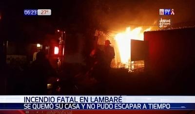Hombre fallece tras incendio de su vivienda en Lambaré