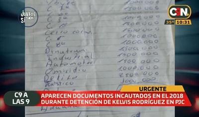Revelan lista de coimas incautada en detención de miembro del PCC