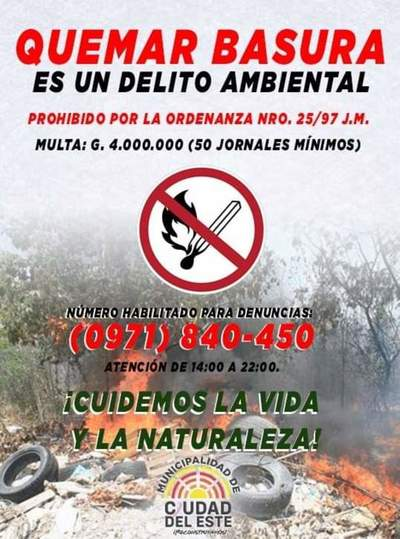 Vecinos denuncian inacción de la comuna de CDE ante denuncias por quema de basura