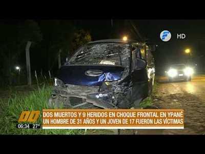 2 muertos y 9 heridos en choque frontal