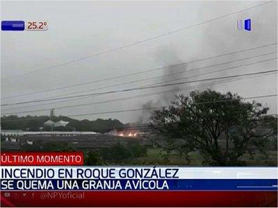 Incendio de gran magnitud afecta a granja avícola en Roque González
