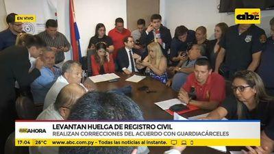 Levantan huelga de registro civil