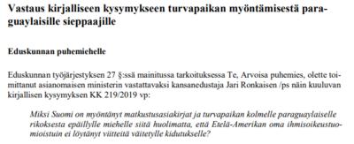 Ministra del Interior de Finlandia respondió sobre refugio a Arrom, Martí y Colmán